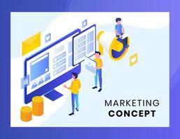 Isometrisch marketingconcept voor bestemmingspagina vector