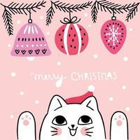 Cartoon schattige kerst kat en bal ornamenten vector
