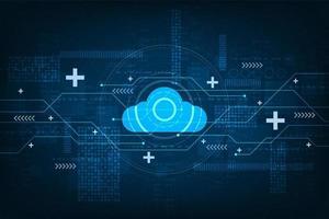 Digitaal cloud- en circuitontwerp vector