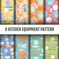 Naadloze keukengereedschap patroon set vector