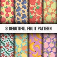 Naadloze fruit patroon set vector