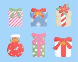 Reeks van kleurrijke geschenkdoos op blauwe achtergrond.