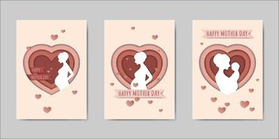Set van Happy Mothers Day belettering wenskaarten vector