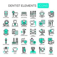 Set van tandartselementen dunne lijn en pixel perfecte pictogrammen voor elk web- en app-project. vector