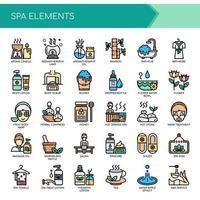 Spa-elementen Dunne lijn en pixel perfecte pictogrammen