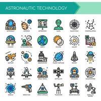 Astronautiek Dunne lijn en pixel perfecte pictogrammen vector