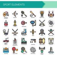 Sportelementen Dunne lijn en pixel perfecte pictogrammen vector