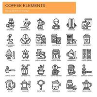 Koffie-elementen, dunne lijn en pixel perfecte pictogrammen