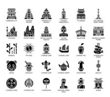 China-symbolen, Glyph-pictogrammen vector