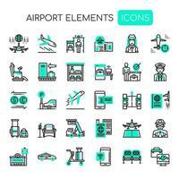 Luchthavenpictogrammen, dunne lijn en pixel perfecte pictogrammen vector