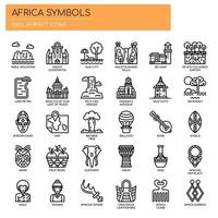 Africa Elements, Thin Line en Pixel Perfect Icons vector