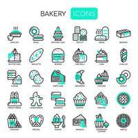 Bakkerij, dunne lijn en pixel perfecte pictogrammen vector