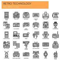 Retro-technologie, dunne lijn en perfecte pixelpictogrammen