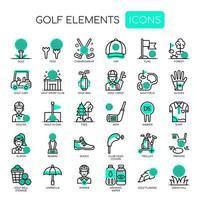 Golfelementen, dunne lijn en pixel perfecte pictogrammen vector