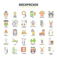 Backpacker Elements, Thin Line en Pixel Perfect Icons vector
