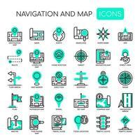 Navigatiekaart Dunne lijn en pixel Perfecte pictogrammen