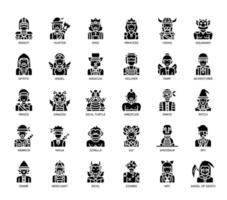 Gamekarakters, Glyph-pictogrammen vector