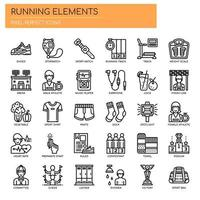 Running Elements, Thin Line en Pixel Perfect Icons vector