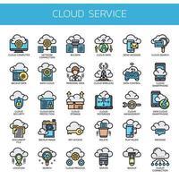 Cloudservice, dunne lijn en perfecte pixelpictogrammen vector