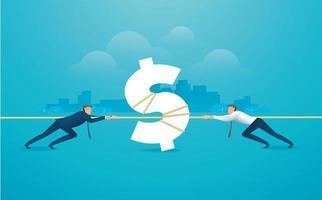 zakenlieden trekken het touw met geldpictogram vector