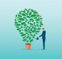een zakenman drenken gloeilamp vorm plant vector