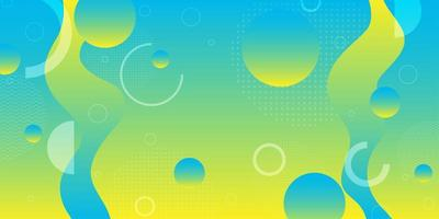 Achtergrond van neon de gele en blauwe vloeibare vormen