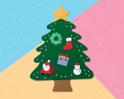 Kerstviering achtergrond in papier gesneden stijl