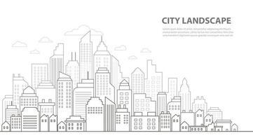 Getekende Skyline tekening lijn achtergronden