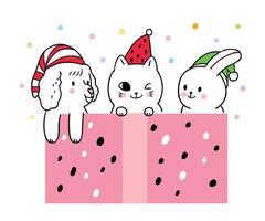 Cartoon schattige kerst, hond en kat en konijn