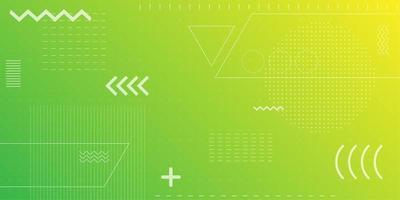 De heldere achtergrond van neon groene en gele retro vormen vector