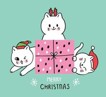 Cartoon schattige kerst katten en cadeau