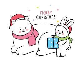Cartoon schattige kerst ijsbeer en konijn en cadeau