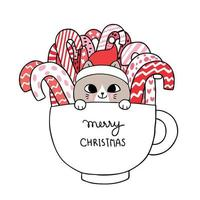Kerst kat en snoep in cup vector