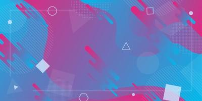 Retro blauwe en paarse retro gradiënt abstracte overlappende vormen