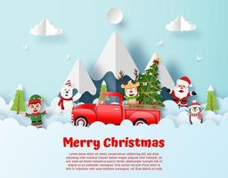 Kerstfeest Origami Style Ansichtkaart vector