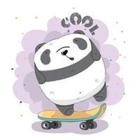 schattige baby Panda op skateboard vector