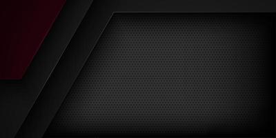 Overlappende zwarte en donkerrode 3d geometrische vormenachtergrond vector