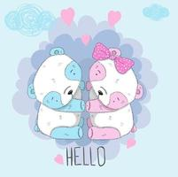 schattige jongen en meisje panda vector