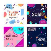 Verzameling van vierkante sociale media post sjabloon met geometrische vormen