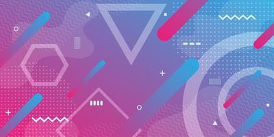 Roze paarse achtergrond met kleurovergang met geometrische retro vormen vector