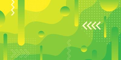 Heldergroene en gele achtergrond met gradiënt overlappende vormen vector