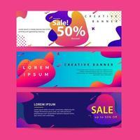 Horizontale banner instellen met moderne kleurrijke vloeistof element websjabloon