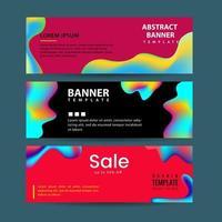 Horizontale banners instellen met kleurrijke vloeibare vormen