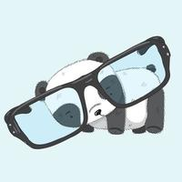 schattige baby Panda draagt een grote bril vector