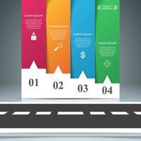 Road paper zakelijke infographic. Vier papieren artikelen. vector