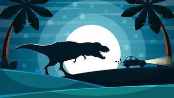 Dinosaur zit achter de auto aan.