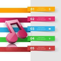 Muziek Infographic. G-sleutelpictogram. Notitie pictogram. vector