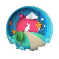 Cartoon papier landschap. Konijn illustratie. vector