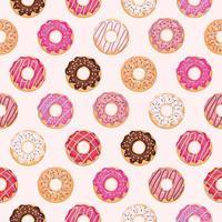 Naadloos patroon met geglazuurde donuts.