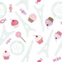 Naadloos patroon met de toren van Eiffel en cupcakes.